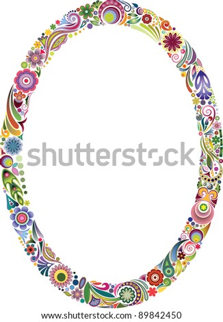 Oval floral frame - stock vector