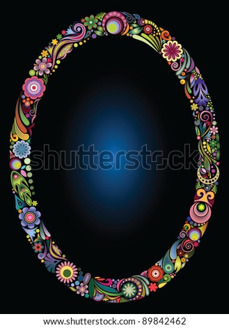Oval floral frame on black background
