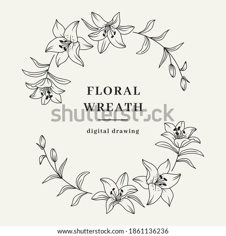 Oval floral wreath, Lily flower wreath. Elegant frame for invitation or wedding decor, lily flowers circle monogram. Vector isolated illustration