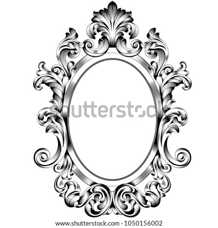Oval frame. Oval frame vector.Oval border. Oval vintage border frame engraving with retro ornament pattern in antique baroque style decorative design. Vector.