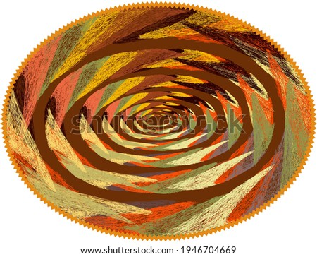 Oval mat, carpet, rug, tapestry , napkin , serviette with colorful  fractal ellipse weave elements and zigzag fringe isolated on white  Stock photo ©