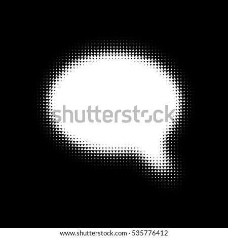 Oval speech bubble on black background with white triangles. Halftone effect think speech bubble. Thought bubble halftone icon.
