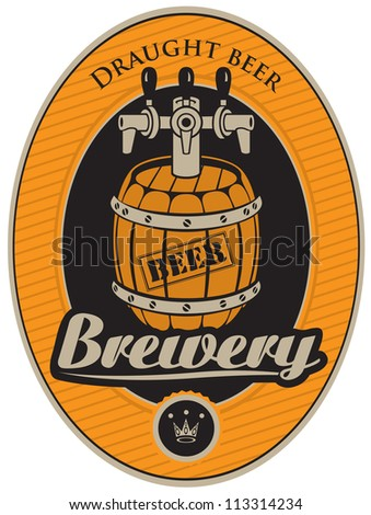 oval sticker with a barrel of beer