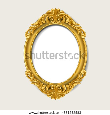 oval vintage  gold picture frame  #531252583