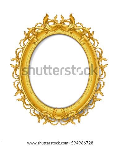 Oval Vintage Gold Picture Frame Ez Canvas
