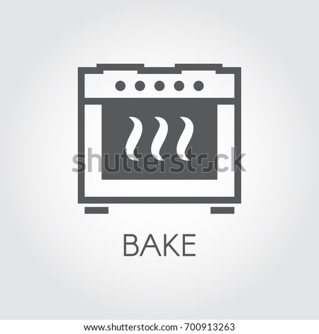 Oven bake icon drawing in flat style for different cooking projects, kitchen interior design themes or button for web design needs. Vector illustration