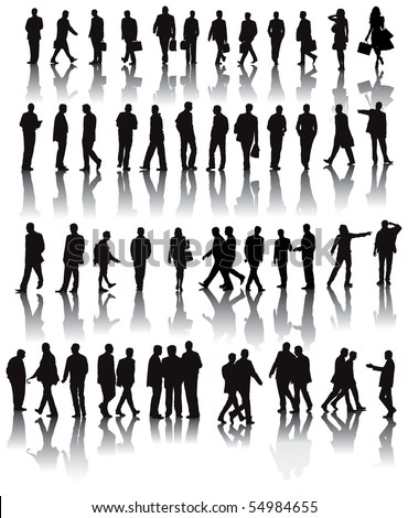 Over fifty black silhouettes with shadow reflexions. People working in the office. Vector illustration.