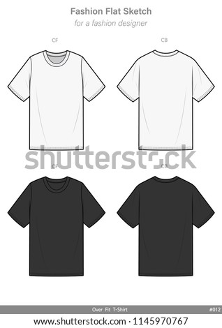 OVER FIT Tee shirt FASHION FLAT SKETCHES technical drawings teck pack Illustrator vector template