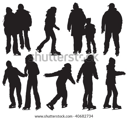 Over ten people silhouettes skating on ice. Vector black and white illustration.