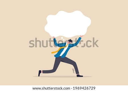 Over thinking, obsessive in work or too many problems that cannot make decision concept, tried depressed businessman carry heavy thinking bubble burden.