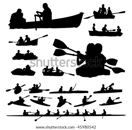 Over Twenty Peoples Vector Silhouettes On Boats And Kayaks