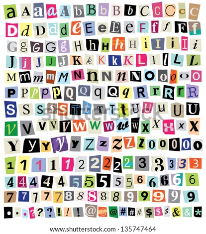 Over 200 vector cut newspaper and magazine letters, numbers, & symbols. Mixed uppercase and lowercase-multiple options for each one. Perfect design elements for a ransom note, creative typography, etc Foto stock ©