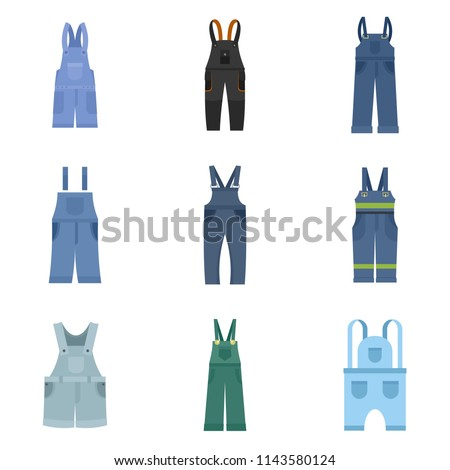 Overalls workwear icons set. Flat illustration of 9 overalls workwear vector icons isolated on white