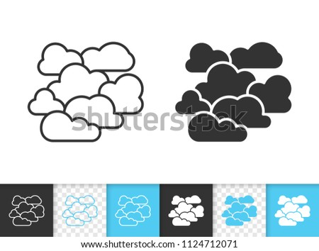 Overcast black linear and silhouette icons. Thin line sign of cloudy. Cloudiness outline pictogram isolated on white, color, transparent background. Vector Icon shape. Overcast simple symbol closeup