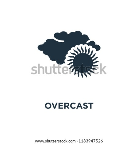 Overcast icon. Black filled vector illustration. Overcast symbol on white background. Can be used in web and mobile.