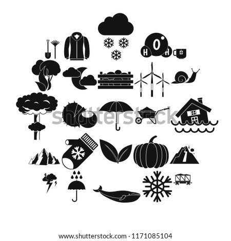 Overcast icons set. Simple set of 25 overcast vector icons for web isolated on white background