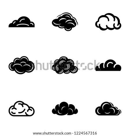 Overcast icons set. Simple set of 9 overcast vector icons for web isolated on white background