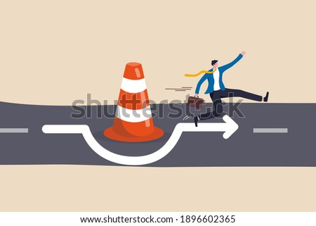 Overcome business obstacle, blocker, effort to break through road block, solution to solve business problem concept, smart bravery businessman run the way around and jump pass traffic pylon roadblock. Сток-фото ©