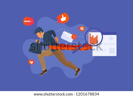 Overcome challenge vector illustration: resilient businessman or employee with ambitious goals overcoming obstacles and purposes. Business boost success concept in trendy style.