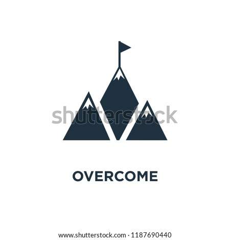 Overcome icon. Black filled vector illustration. Overcome symbol on white background. Can be used in web and mobile.