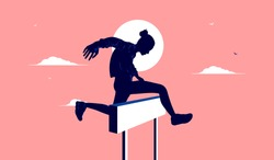 Overcome obstacle - Woman jumping a hurdle as a symbol of conquering adversity. Female goals, winning, and success concept. Vector illustration.