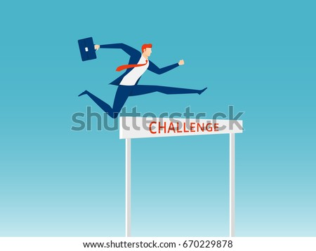 Overcome obstacles and success concept. Businessman holding briefcase jumping over hurdle race obstacle. Cartoon Vector Illustration Сток-фото ©