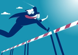 Overcome obstacles. Manager jumping over obstacles like hurdle race. Business vector concept illustration