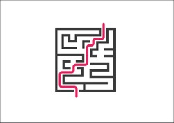 Overcoming business challenges and obstacles. Vector illustration of maze / labyrinth with red growth curve.