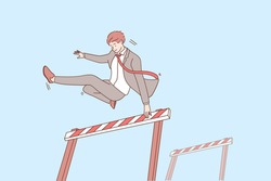 Overcoming obstacles and leadership concept. Young confident smiling businessman cartoon character jumping over obstacle meaning gaining goals and good motivation vector illustration