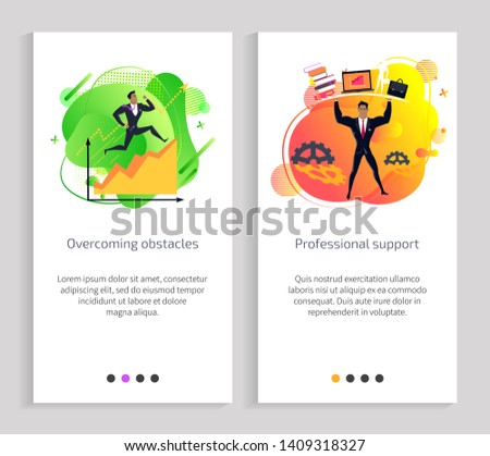Overcoming obstacles and professional support vector, male wearing suit formal wear and holding briefcase, gears and cogwheels with info. Website or app slider, landing page flat style