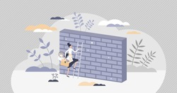 Overcoming obstacles or problem with business persistence tiny person concept. Female leader reaching over wall as going forward despite barriers vector illustration. Boundary expansion with hard work