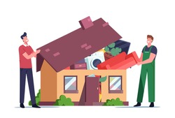 Overconsumption Concept. Male Characters Customer and Loader Loading Goods to Home Full of Useless Things Pop Up from Roof. Reducing Consumption Society Problem. Cartoon People Vector Illustration