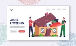 Overconsumption Landing Page Template. Male Characters Customer and Loader Loading Goods to Home Full of Useless Things. Reducing Consumption Society Problem. Cartoon People Vector Illustration