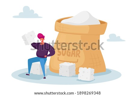 Overdose Glucose Eating Problem, Sugar Addiction Concept. Tiny Fat Male Character Sitting at Huge Sugar Sack with Sugar Cubes, Man Addict of Excessive Sweet Junk Food. Cartoon Vector Illustration Stock photo ©