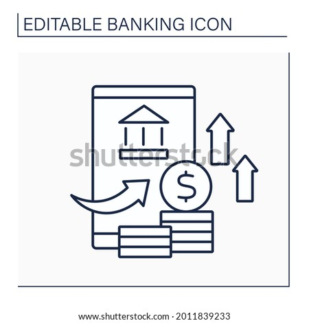 Overdraft line icon. Exceeding credit limit. Deficit in bank account. Banking functions concept. Isolated vector illustration. Editable stroke Foto stock ©