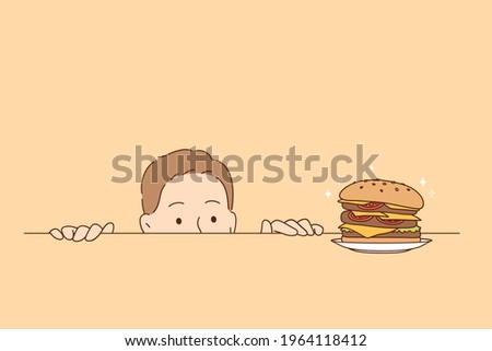 Overeating, nutrition, hunger concept. Funny hungry man cartoon character looking at tasty burger on table striving to eat it all vector illustration  Photo stock ©