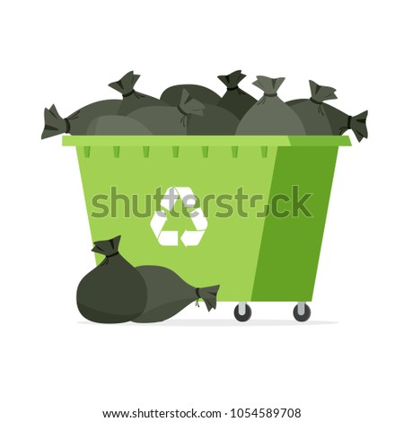 overflowing garbage bin vector