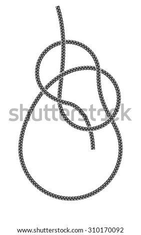 Overhand Bowline Knot. Rope and Tied Knot