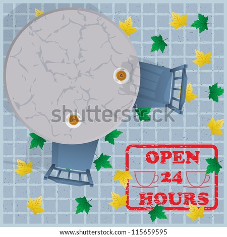 Overhead view of a street cafe with table, cup of tea, chairs. Vector background - stock vector