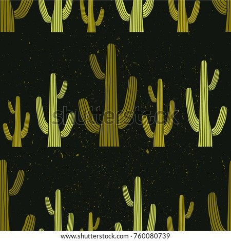 Overlapping background with cactuses, hand drawn backdrop vector. Big collection of cactus, sketch objects. Colorful seamless pattern with plants. Decorative wallpaper, good for printing