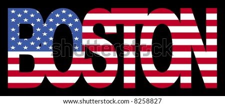 Overlapping Boston text with American flag illustration