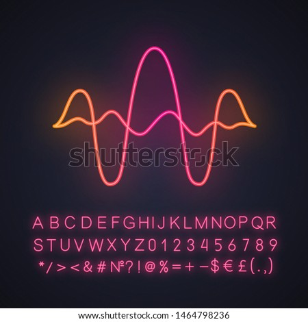 Overlapping curves, waves neon light icon. Vibration, noise amplitude level. Music frequency. Audio, digital soundwaves. Glowing sign with alphabet, numbers and symbols. Vector isolated illustration