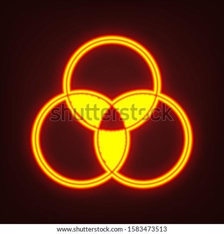 Overlapping sets in math., overlapping circles, 3 intersecting circles. Yellow, orange, red neon icon at dark reddish background. Illumination. Illustration.