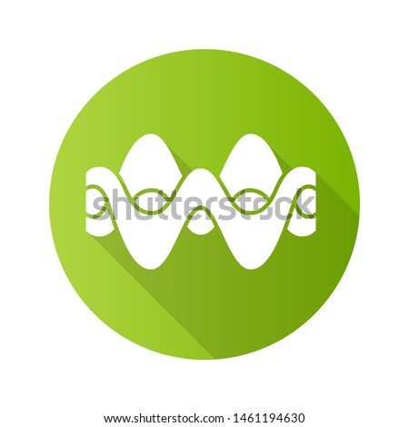 Overlapping waves green flat design long shadow glyph icon. Abstract energy, synergy flow waveform. Fluid, organic waves, soundwaves. Vibration amplitude, level curves. Vector silhouette illustration
