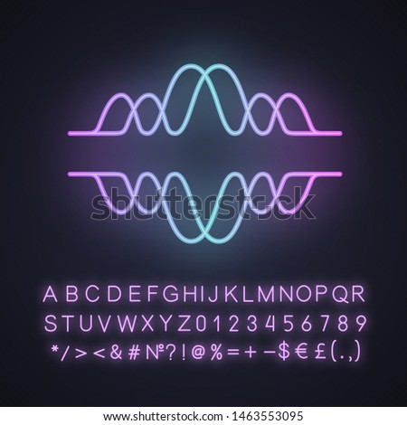 Overlapping waves neon light icon. Voice recording, radio signal. Abstract music frequency level. Noise, vibration amplitude. Glowing sign with alphabet, numbers, symbols. Vector isolated illustration