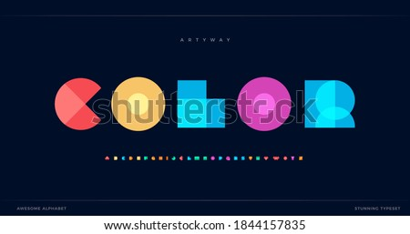 Overlay colorful alphabet. Color overlap, decorative font, geometric type for modern color logo, abstract headline, art lettering and maxi typographic. Minimal style letter, vector typography design