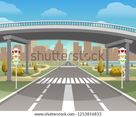 Overpass. Autobahn and highway, bridge and road highways intersection, motorway city and flyover, viaduct vector illustration