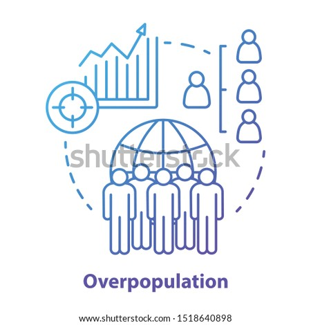 Overpopulation concept icon. Planet overcrowding idea thin line illustration in blue. Increasing number of people. Demographic problems in society. Lack of resources. Vector isolated outline drawing