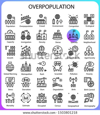 Overpopulation concept line icons 64px artboard