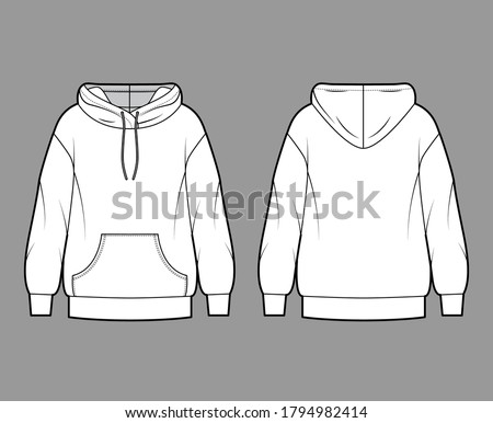Oversized cotton-fleece hoodie technical fashion illustration with pocket, relaxed fit, long sleeves. Flat outwear jumper apparel template front back white color. Women, men, unisex sweatshirt top CAD